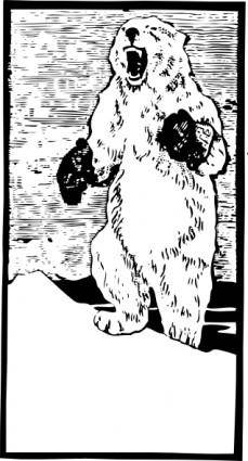 Polar Bear With Mittens clip art
