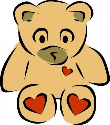 Teddy Bears With Hearts clip art