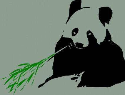 free vector Panda Bear Eating Bamboo clip art