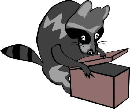 Raccoon Opening Box clip art