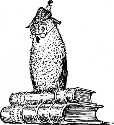 Wise Owl On Books clip art