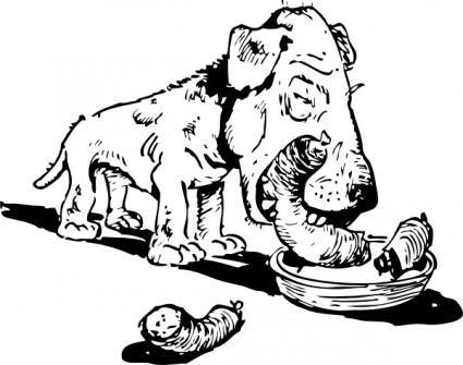 Dog Eating Sausage clip art