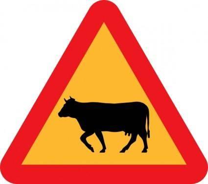 Warning Cows Roadsign clip art