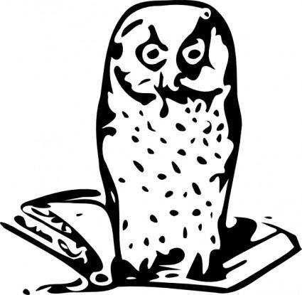 Owl On Book clip art