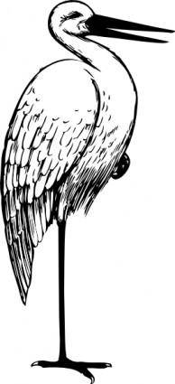 Bird Standing One Foot clip art