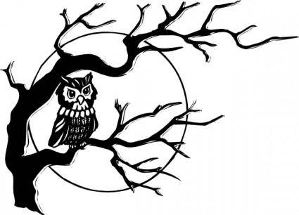 Owl On Tree Branch clip art