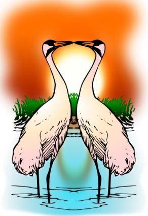 free vector Valessiobrito Two Love Whooping Crane clip art