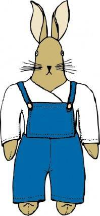 Bunny In Overalls Front View clip art
