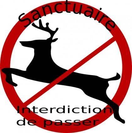 Chevreuil Sanctuaire Pancarte clip art