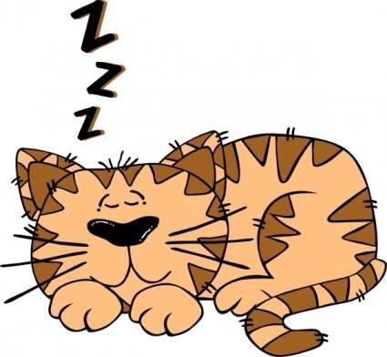 free vector Cartoon Cat Sleeping clip art