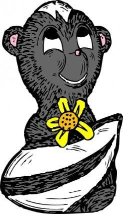 Skunk With A Flower clip art