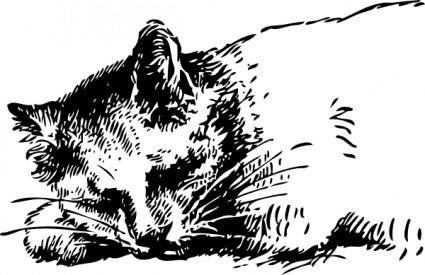Sleeping Cat clip art