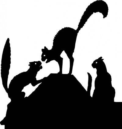 Cat Fight Silhouette clip art