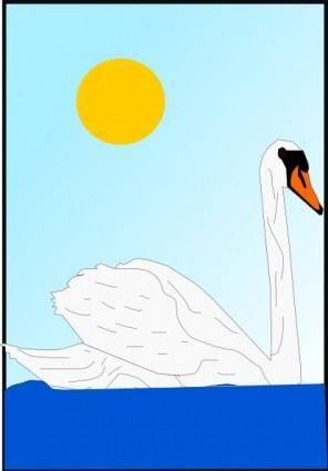 Swimming Swan clip art