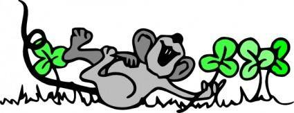 Mouse Playing In Shamrocks clip art