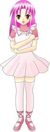 Girl With Pink Hair clip art