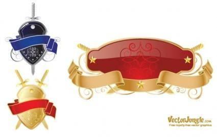 free vector FREE VECTOR SHIELD AND RIBBONS