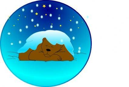 Sleeping Bear Under Stars With Snow | Circle clip art