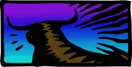 free vector Toro Al Tramonto clip art