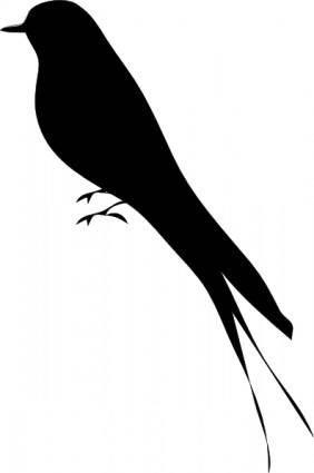 free vector Bird Stand Tree Vine Silhouette clip art