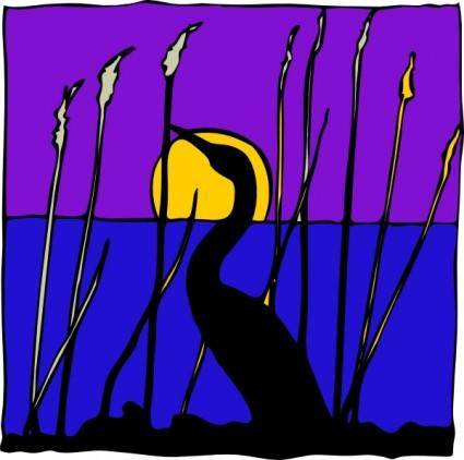 Swan Sunset Lake clip art