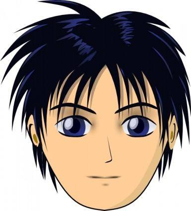 Asian Anime Boy Head clip art