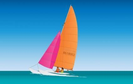 free vector Catamaran Sailing