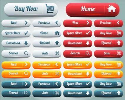 free vector The delicate web buttons sinks 03 vector