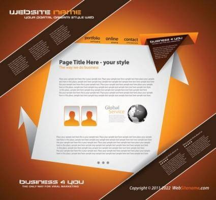 free vector Origami website design 02 vector