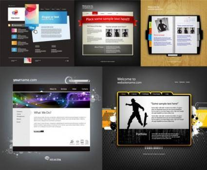Five sophisticated web template vector