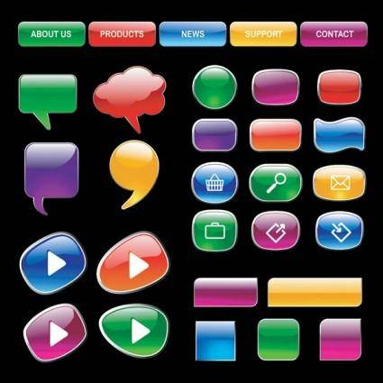 free vector Crystalstyle web buttons vector 3
