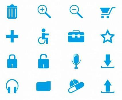 Blue Web Icons Vector Set