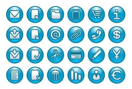 Blue Web Buttons Icon Set