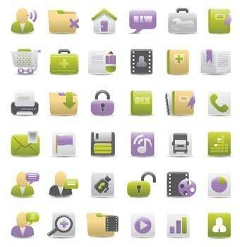 free vector Green Magenta Web icon set - web vector icon