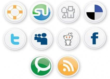 free vector Social Button, web 2.0
