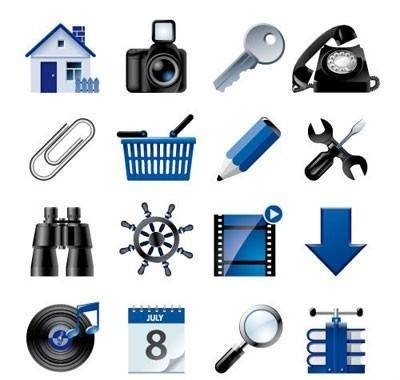 free vector Blue website and internet icons