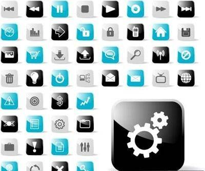 free vector Glossy Icon Set for Web Applications