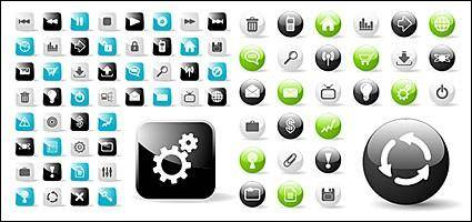 Web2.0 web design round with a square icon icon vector material