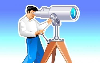 Navigator looks forward through the telescope