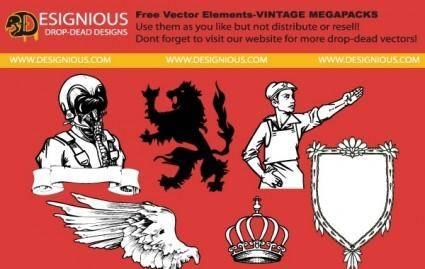 free vector Elements from vintage mega pack