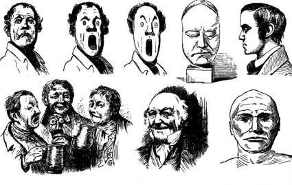 14 Freaky Faces Free Vector Art