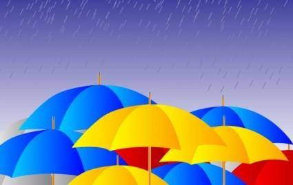 Free Umbrellas in the rain Vector