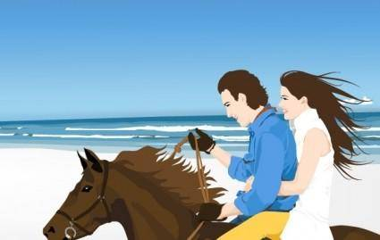 Couple on the hourse free vector