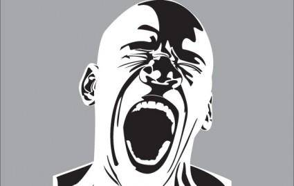 Screaming man free vector