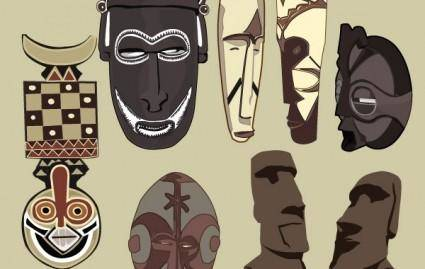 free vector Ancient masks