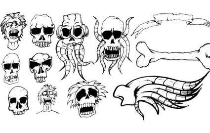 Different types of skulls free vector