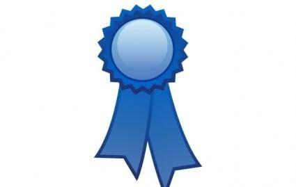 Blue ribbon decoration free vector