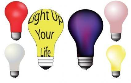 Different colour light bulbs free vector