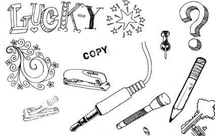 A set of hand drawn objects free vector