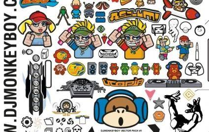 Mixed Characters and Other Stuff Free Vectors